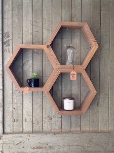 Hexagon Shelves. Can be made in any configuration.